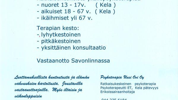 Psykoterapia Uusi Ovi Oy, Savonlinna